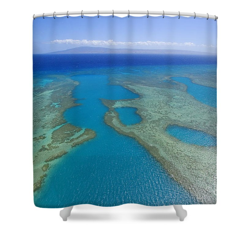 Above Shower Curtain featuring the photograph Molokai, Aerial by Ron Dahlquist - Printscapes