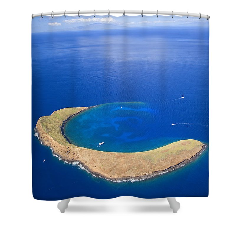 Above Shower Curtain featuring the photograph Molokini Crater by Ron Dahlquist - Printscapes