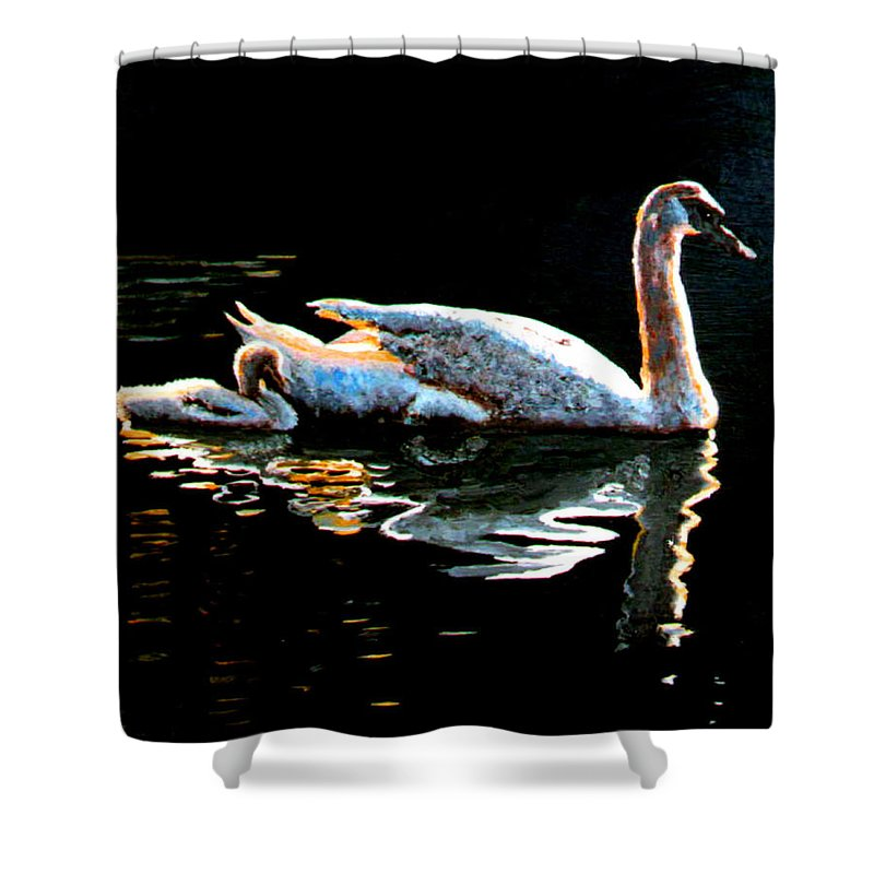 Swan Shower Curtain featuring the painting Mom And Baby Swan by Stan Hamilton