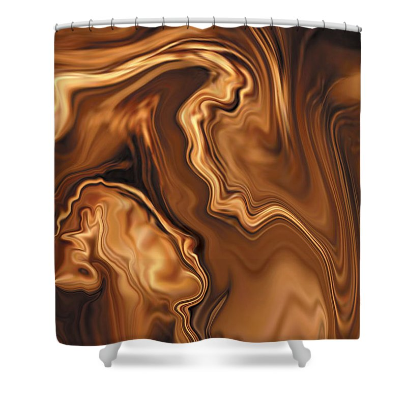 Abstract Adam Art Blue Brown Copper Digital Eve Figurative Khan Kiss Love Night Passion Rabi_khan Se Shower Curtain featuring the digital art Moment Before The Kiss by Rabi Khan