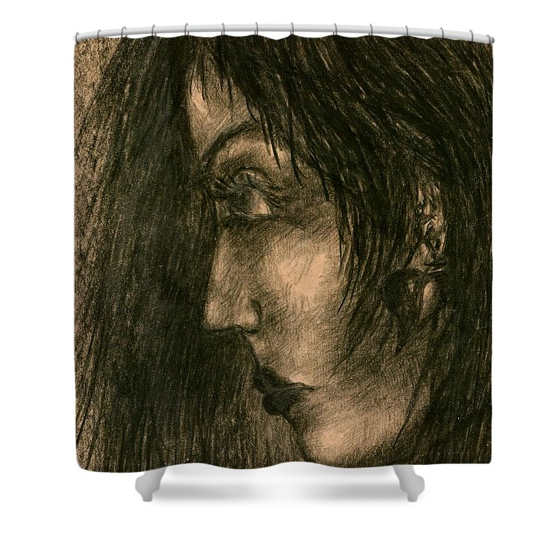 Psychedelic Shower Curtain featuring the drawing Moment by Wojtek Kowalski