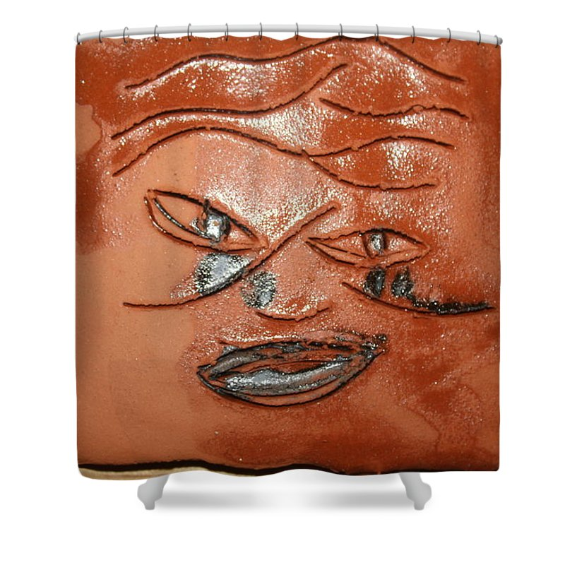 Jesus Shower Curtain featuring the ceramic art Moments - Tile by Gloria Ssali