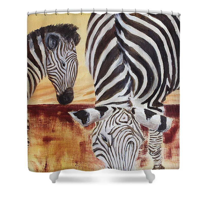 Animal Shower Curtain featuring the painting Momma And Baby by Todd Blanchard