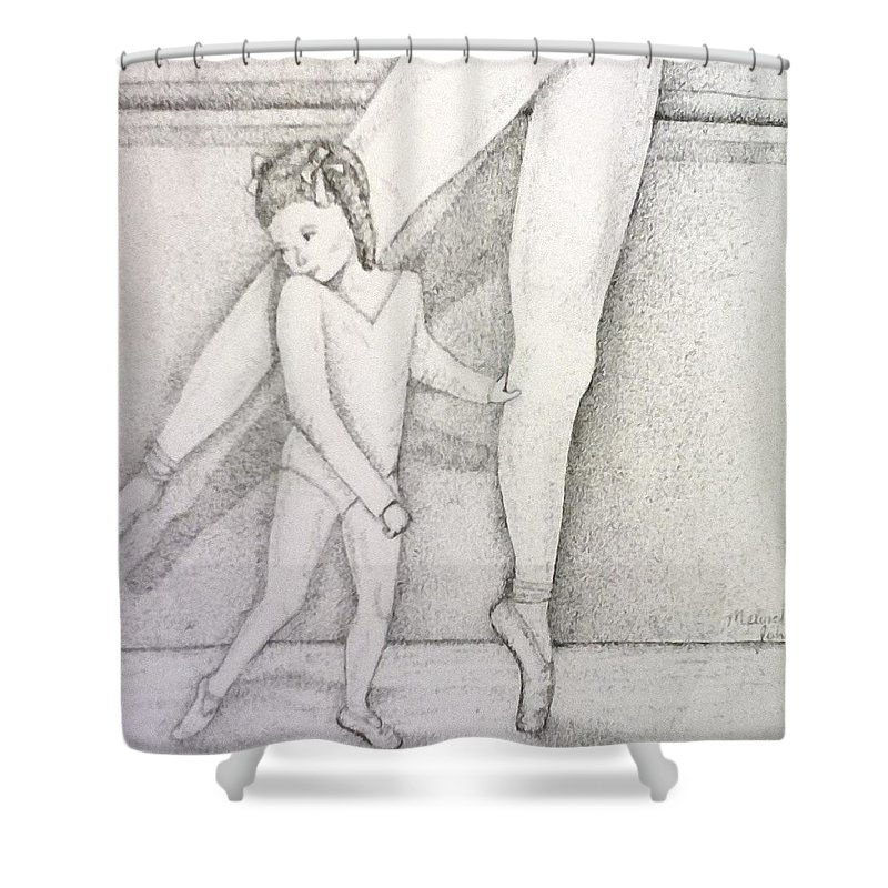 Mom Shower Curtain featuring the drawing Mommy And Me by Melinda Johnston