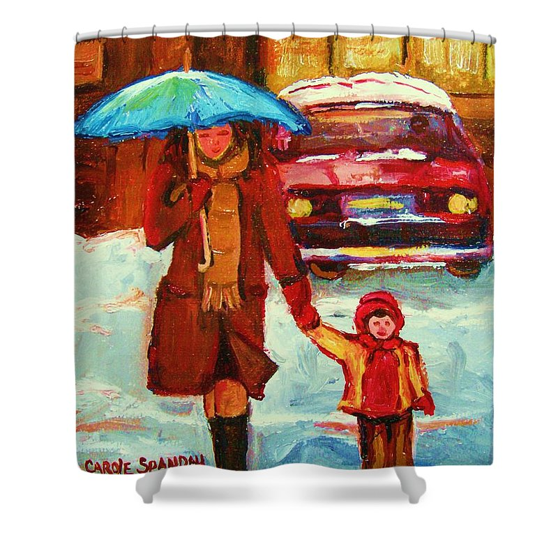 Montreal Shower Curtain featuring the painting Moms Blue Umbrella by Carole Spandau