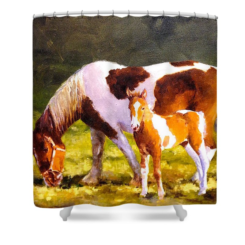 Horse Colt Shower Curtain featuring the painting Mom's Favorite by R W Carlson