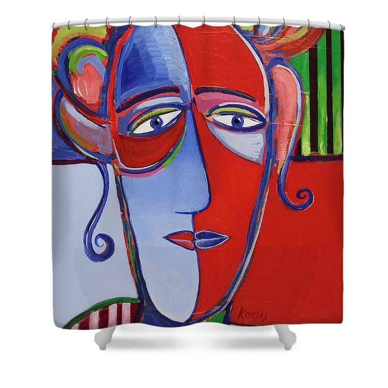 Faces Shower Curtain featuring the painting Mona and Me by Rollin Kocsis