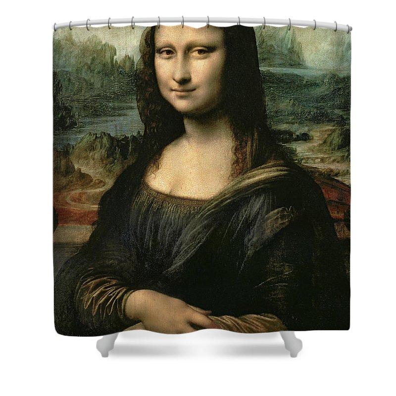 Mona Shower Curtain featuring the painting Mona Lisa by Leonardo da Vinci