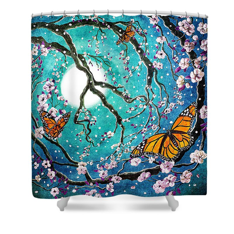 Fantasy Shower Curtain featuring the digital art Monarch Butterflies In Teal Moonlight by Laura Iverson