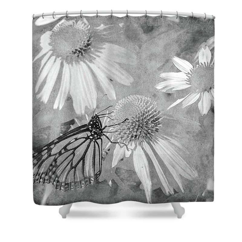 Monarch Shower Curtain featuring the digital art Monarch Butterfly In Black And White by David Stasiak