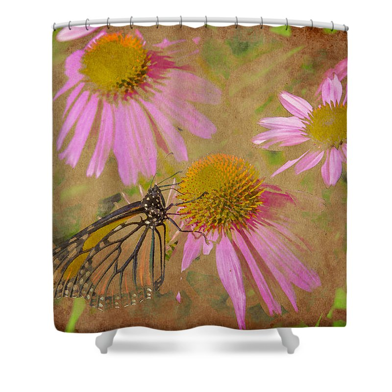 Monarch Shower Curtain featuring the digital art Monarch Butterfly In Pink by David Stasiak
