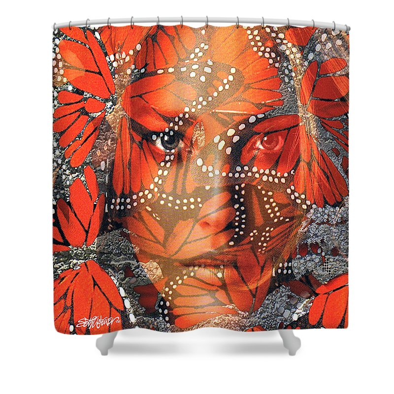 Butterfly Shower Curtain featuring the digital art Monarch Moment by Seth Weaver