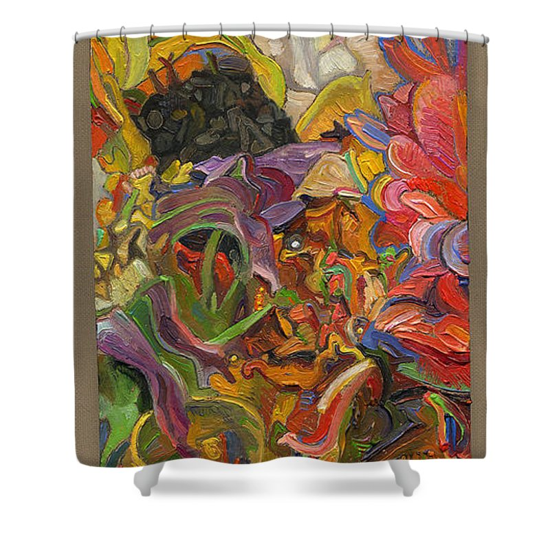 Flowers Shower Curtain featuring the painting Monarch Mountain by Juel Grant