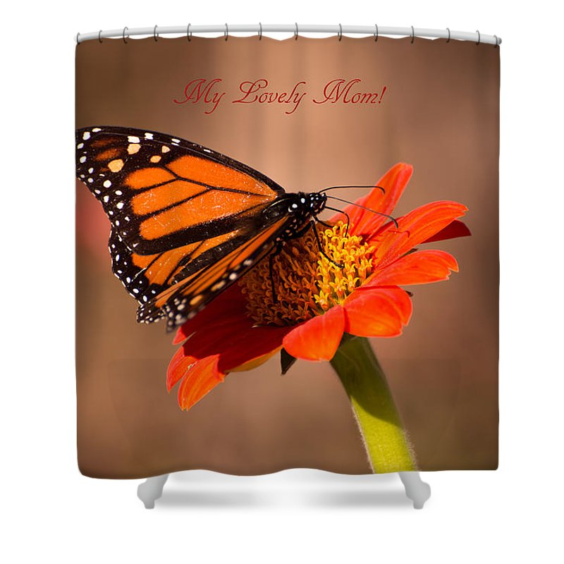 Mothers Day Shower Curtain featuring the photograph Monarch On Tithonia Mother's Day Gifts by Zina Stromberg