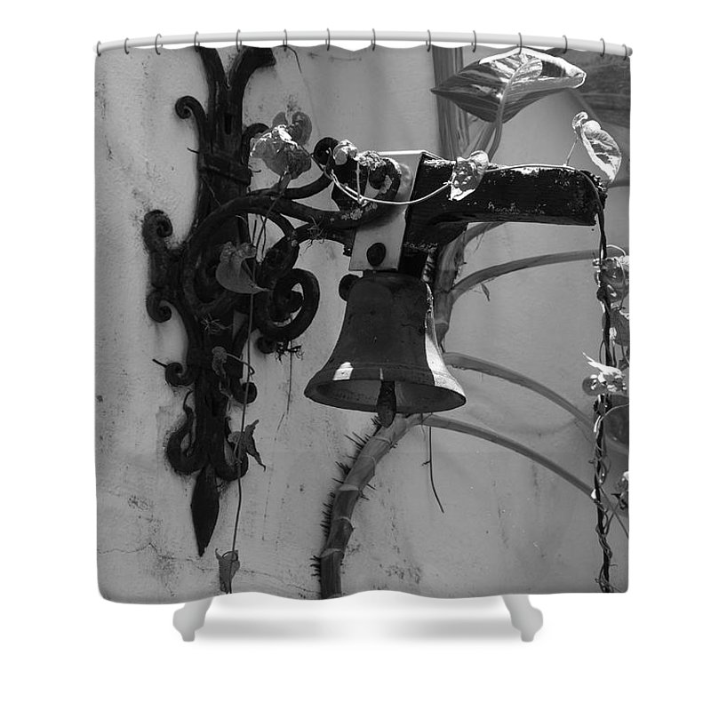 Black And White Shower Curtain featuring the photograph Monastery Bell by Rob Hans