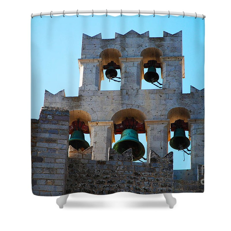 Patmos Shower Curtain featuring the photograph Monastery Bell Tower On Patmos Island Greece by Just Eclectic