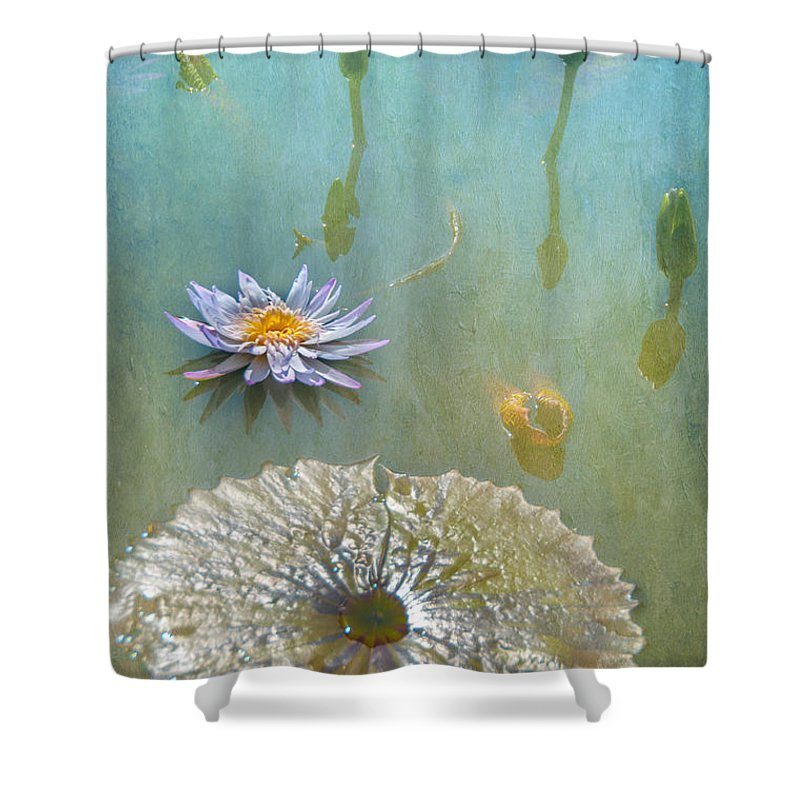 Waterlily Monet Textures Water Flowers Fauna Shower Curtain featuring the photograph Monet Inspired by Carolyn Dalessandro