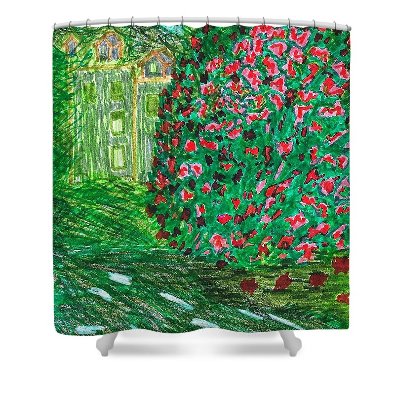 Doodle Art Shower Curtain featuring the drawing Monet's Parc Monceau by Susan Schanerman