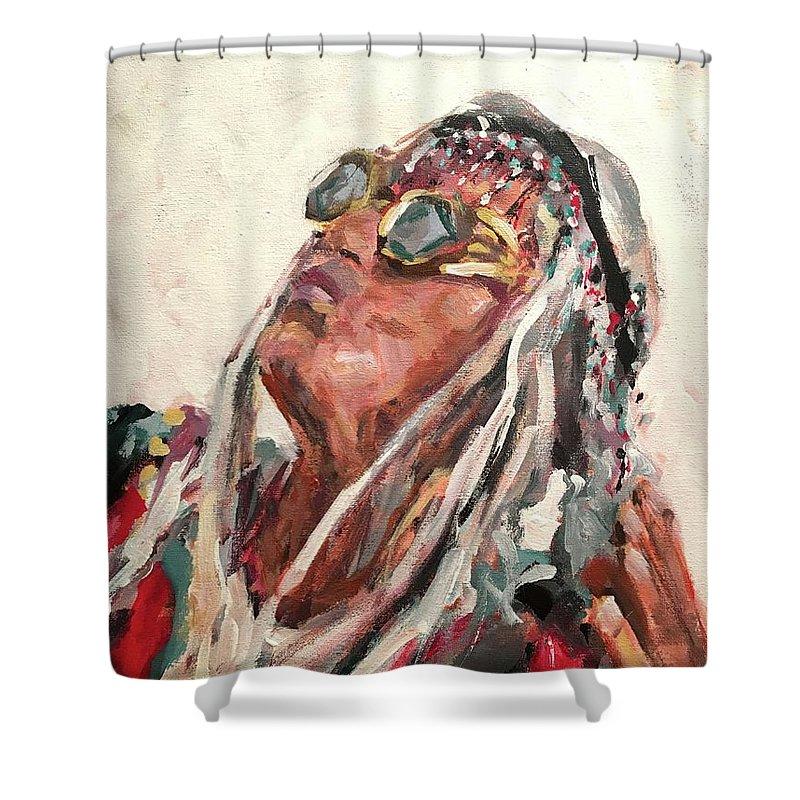 Mongo Shower Curtain featuring the painting Mongo by Susan Elizabeth Jones