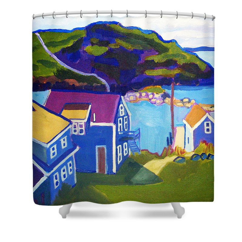 Seascape Shower Curtain featuring the painting Monhegan Harbor by Debra Bretton Robinson