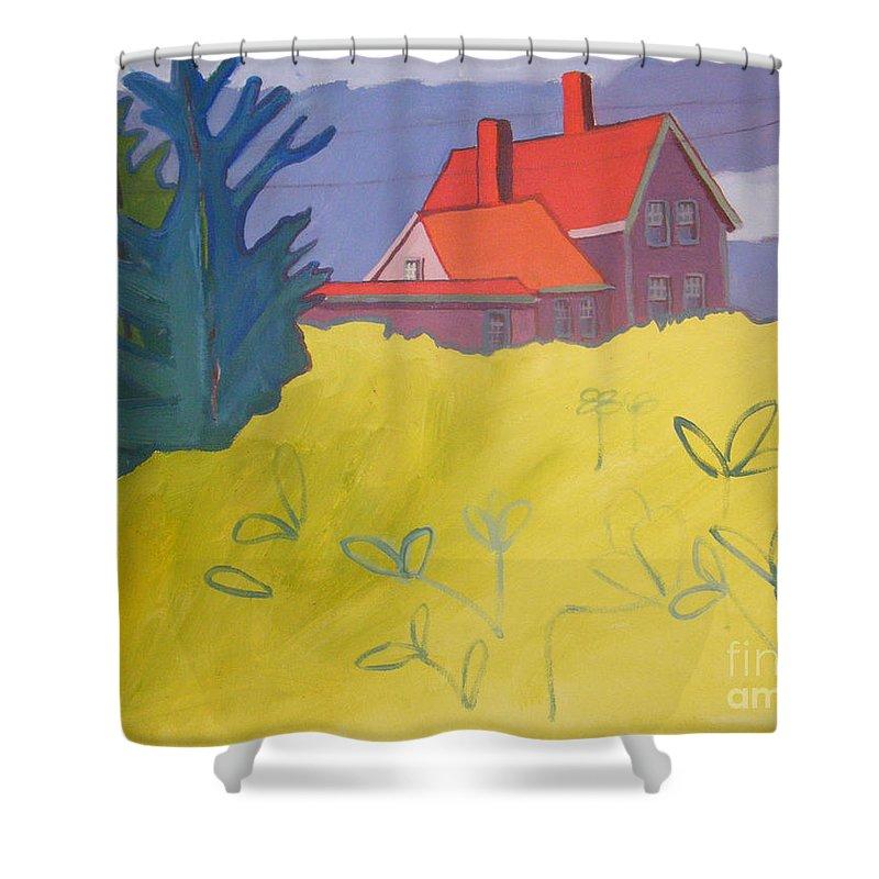 Lighthouse Shower Curtain featuring the painting Monhegan Light by Debra Bretton Robinson