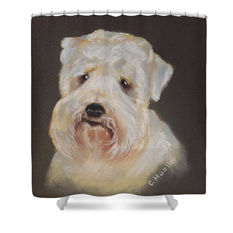 Pet Shower Curtain featuring the painting Monique's Bailey by Carol Mueller
