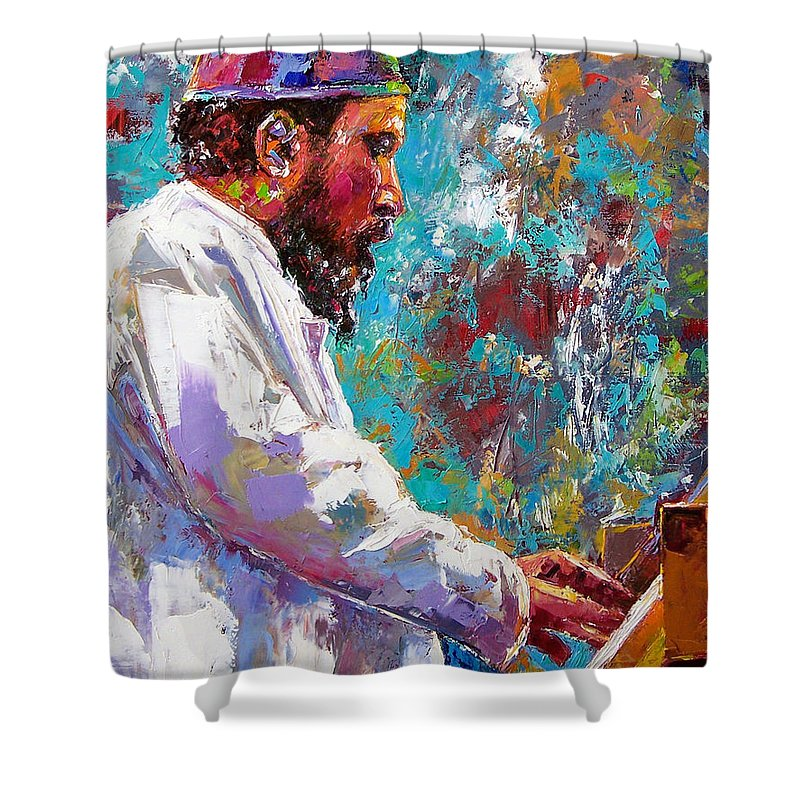 Thelonious Monk Art Shower Curtain featuring the painting Monk Live by Debra Hurd