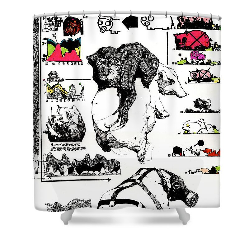Monkey Shower Curtain Featuring The Painting And Pig By Zak Smith