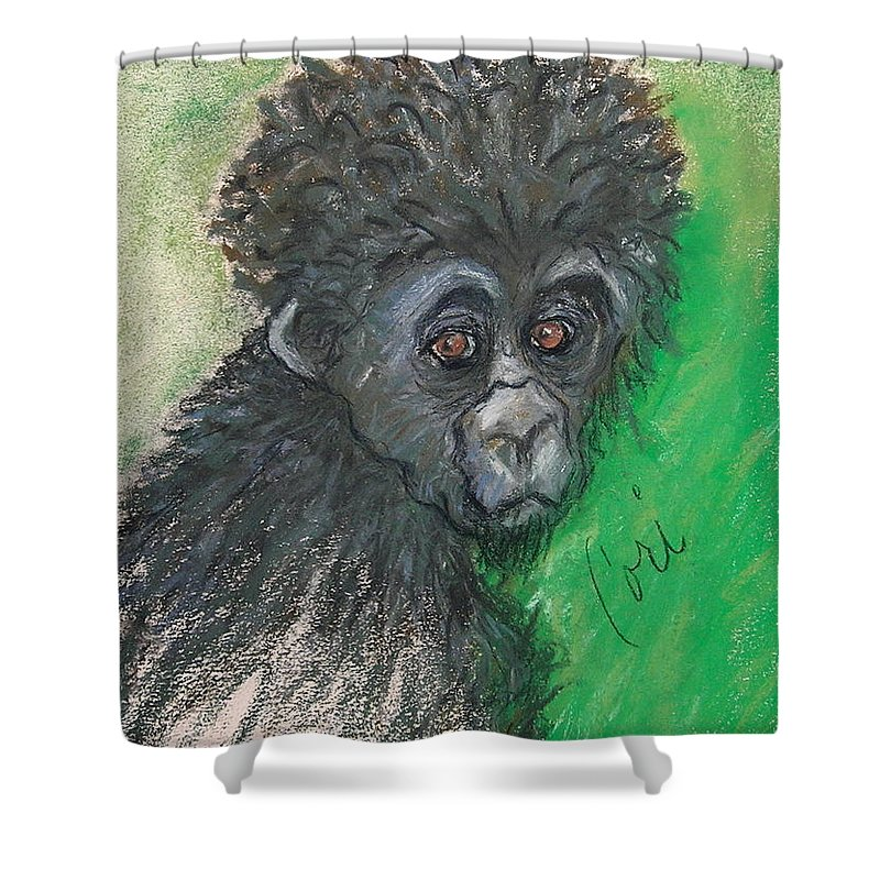 Monkey Shower Curtain featuring the drawing Monkey Business by Cori Solomon
