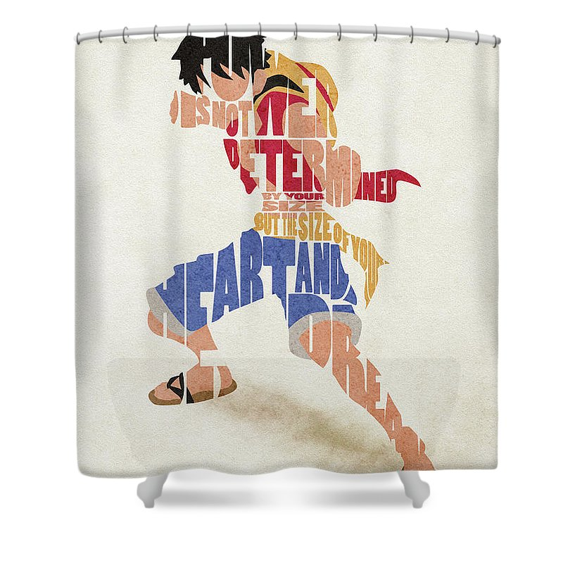 Monkey D Luffy Typography Art Shower Curtain For Sale By Inspirowl Design
