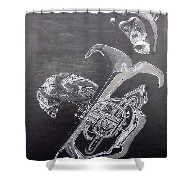 Tuba Shower Curtain featuring the painting Monkey Playing Tuba by Richard Le Page