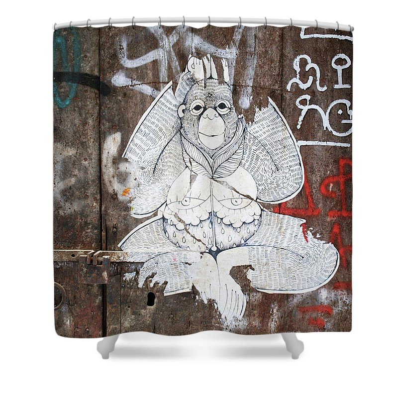 Graffiti Shower Curtain featuring the photograph Monkey With Eyes by Roger Muntes