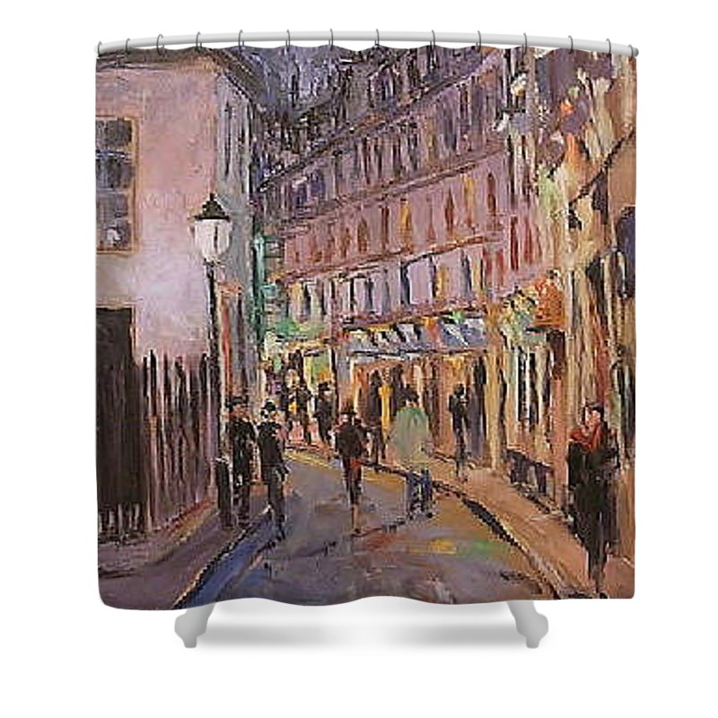 Paris Shower Curtain featuring the painting Monmartre by Walter Casaravilla