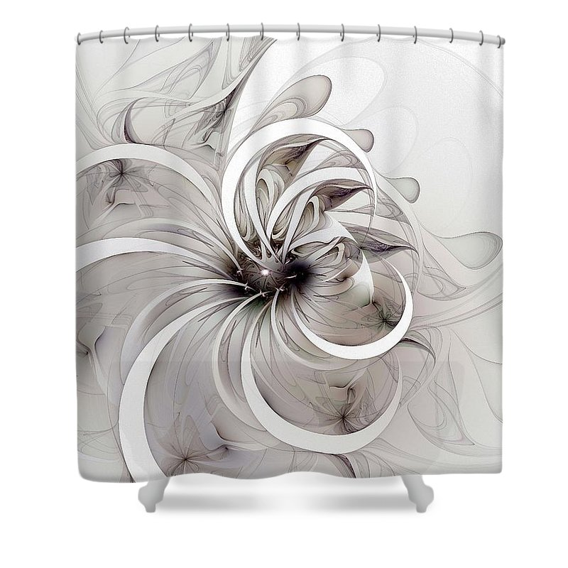 Digital Art Shower Curtain featuring the digital art Monochrome flower by Amanda Moore