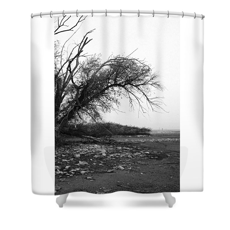 Monochrome Shower Curtain featuring the photograph #monochrome #lake #landscape #stausee by Mandy Tabatt