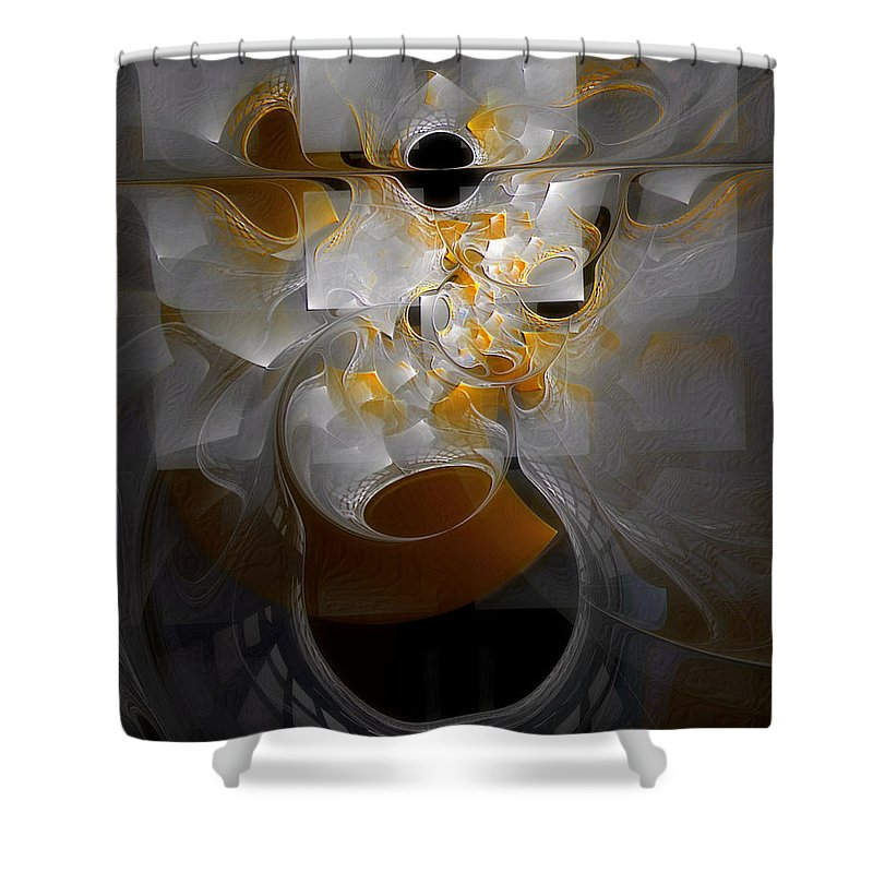Abstract Shower Curtain featuring the digital art Monolith And Friends by Casey Kotas