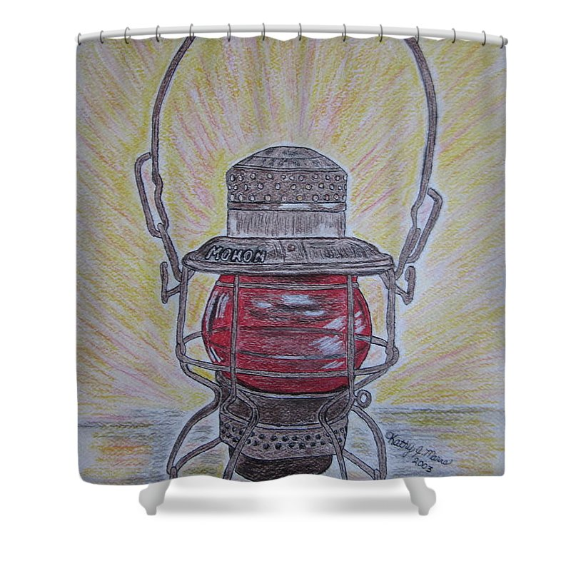 Monon Shower Curtain featuring the painting Monon Red Globe Railroad Lantern by Kathy Marrs Chandler
