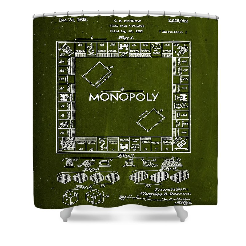 Patent Shower Curtain featuring the mixed media Monopoly Board Game Patent Drawing 1d by Brian Reaves
