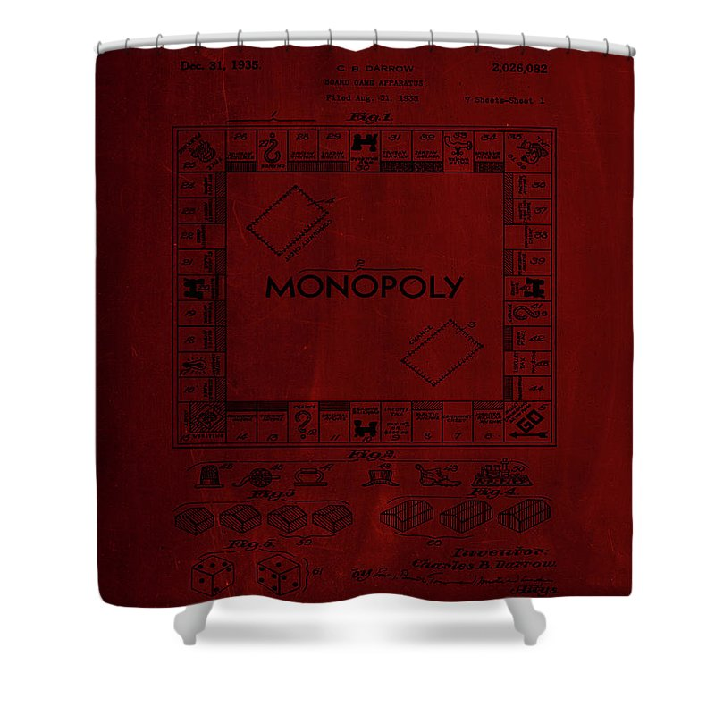 Patent Shower Curtain featuring the mixed media Monopoly Board Game Patent Drawing 1j by Brian Reaves