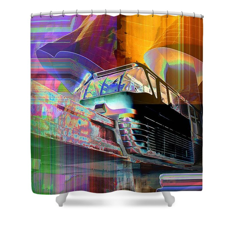Seattle Shower Curtain featuring the digital art Monorail And Emp by Tim Allen