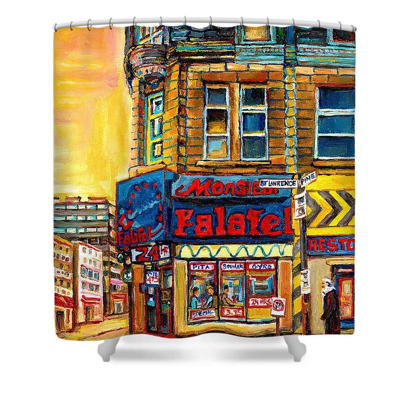 Montreal Shower Curtain featuring the painting Monsieur Falafel by Carole Spandau