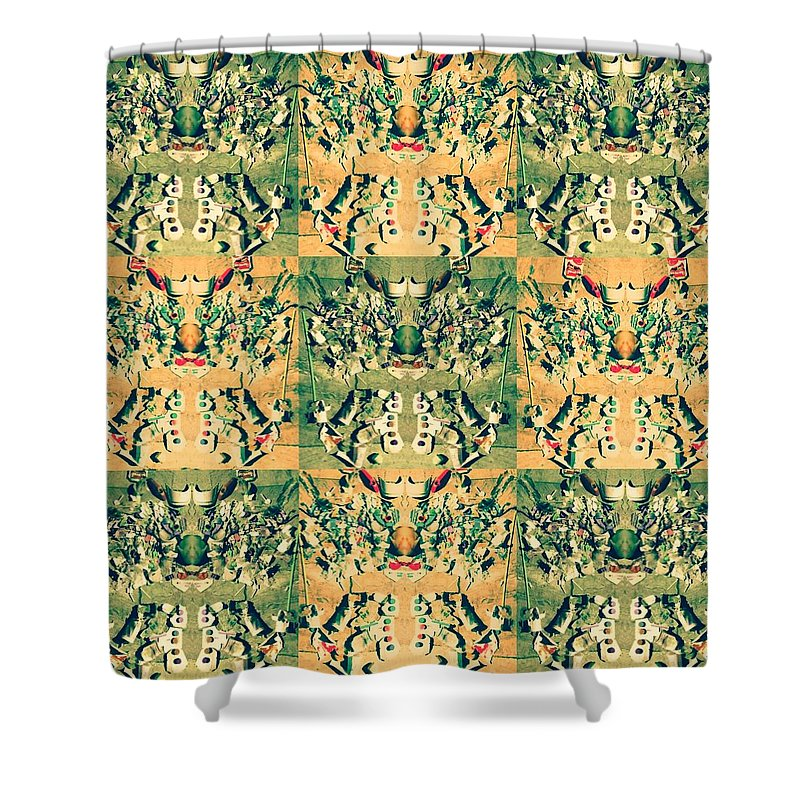 Monster. Pattern.new.beach. Message.recycle. Environment. Shower Curtain featuring the mixed media Monster From The Ocean by Chikako Hashimoto Lichnowsky