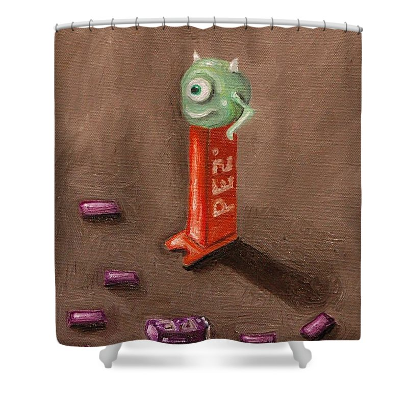 Pez Shower Curtain featuring the painting Monster Pez by Leah Saulnier The Painting Maniac