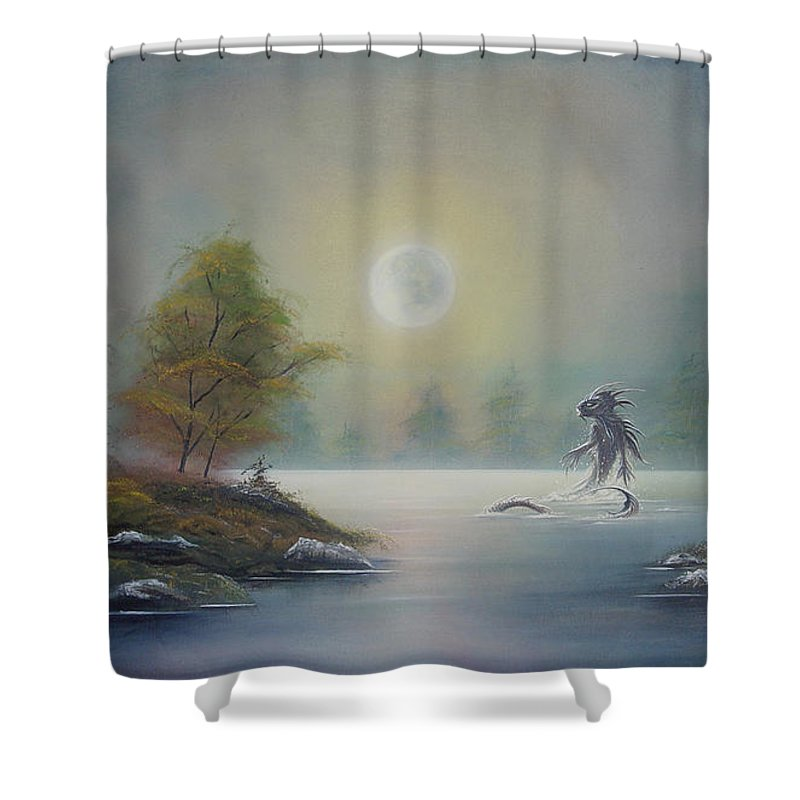 Landscape Shower Curtain featuring the painting Monstruo Ness by Angel Ortiz