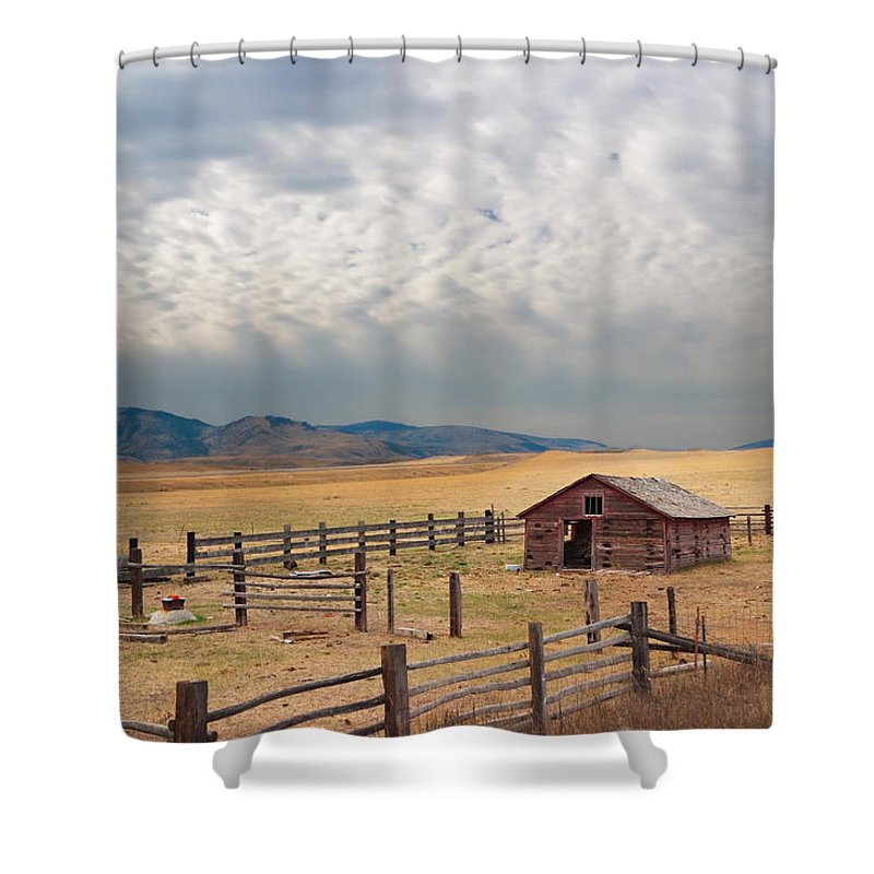 Montana Shower Curtain featuring the photograph Montana Farmyard by Grant Groberg