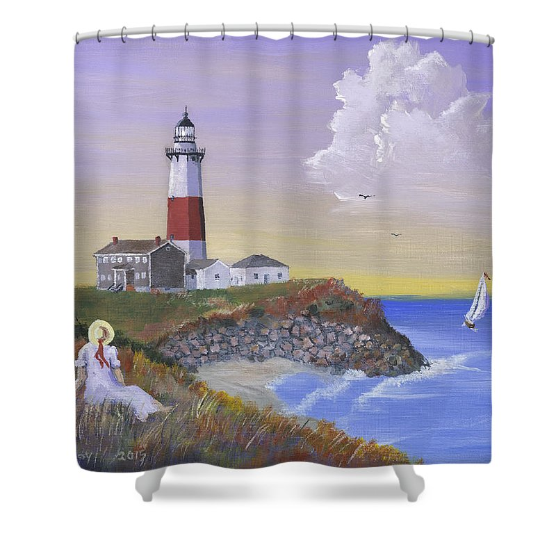 Lighthouse Shower Curtain Featuring The Painting Montauk Lighthouse By  Jerry McElroy
