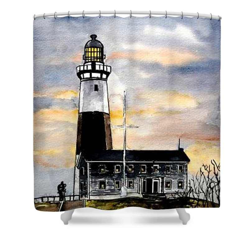 Montauk Point Shower Curtain featuring the painting Montauk Point Lighthouse by Derek Mccrea