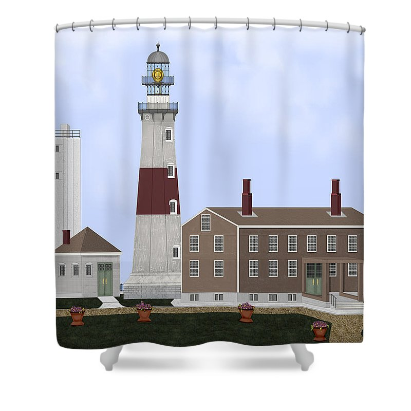 Montauk Lighthouse Shower Curtain featuring the painting Montauk Point Lighthouse Long Island New York by Anne Norskog