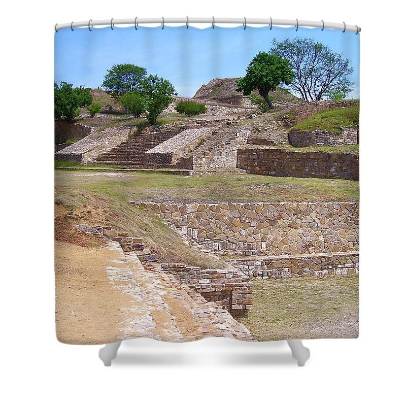 Monte Alban Shower Curtain featuring the photograph Monte Alban 3 by Michael Peychich