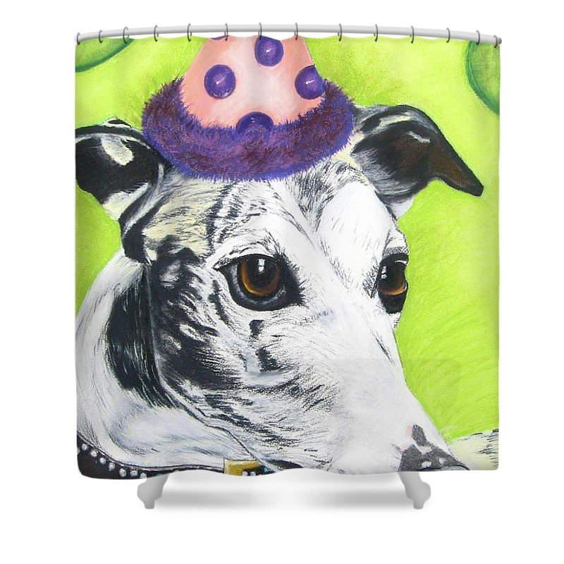 Dog Painting Shower Curtain featuring the pastel Monte by Michelle Hayden-Marsan